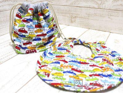 エプロン&巾着袋(小)、自動車柄