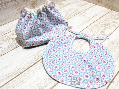 エプロン&巾着袋(大)、水色薔薇柄